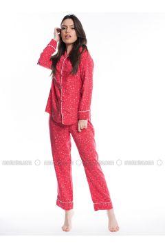Red - Multi - Viscose - Pyjama - Pamuk&Pamuk(110323073)