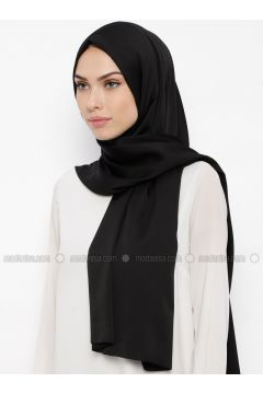 Black - Plain - Shawl - Qubbe(110317391)