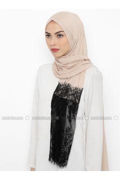 Beige - Plain - Lace - Shawl - İPARHAN DUBAI(110314493)