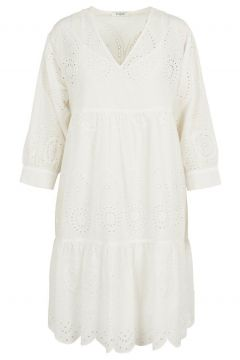 PIECES Broderie Anglaise Jurk Dames White(114505009)