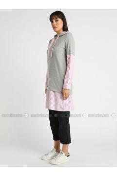 Gray - Stripe - Tunic - MY MOOD(110339211)