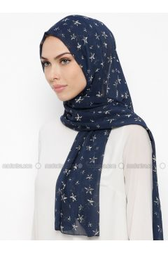White - Navy Blue - Printed - Shawl - Qubbe(110317354)