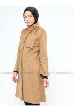 Camel - Unlined - Polo neck - Trench Coat - Mileny(110314038)