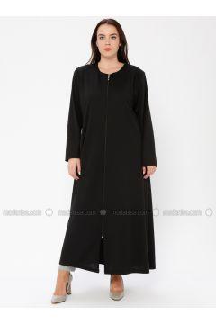 Black - Crew neck - Unlined - Plus Size Abaya - ECESUN(110337584)