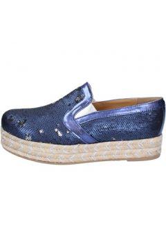 Espadrilles Olga Rubini mocassins bleu textile paillettes BS110(115443077)