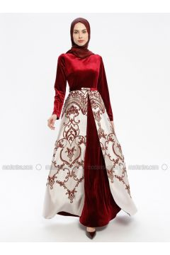 Maroon - Multi - Fully Lined - Crew neck - Muslim Evening Dress - Robir(110320680)