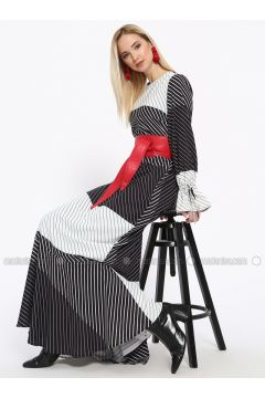 Black - White - Stripe - Crew neck - Fully Lined - Dresses - Missemramiss(110330931)