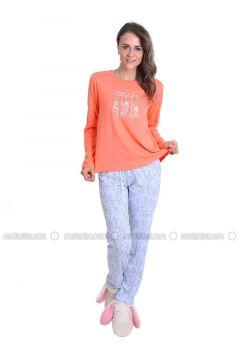 Salmon - Crew neck - Multi - Pyjama - Meliana(110314583)
