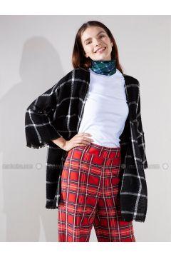 Black - Checkered - Acrylic - Jacket - Akel(110331060)