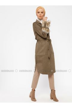 Khaki - Unlined - Shawl Collar - Topcoat - Hanımsa(110328371)