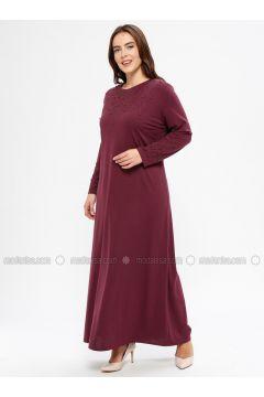 Plum - Unlined - Crew neck - Muslim Plus Size Evening Dress - Havva Ana(110329984)