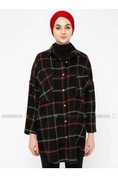 Black - Plaid - Point Collar - Tunic - SELLY(110330502)