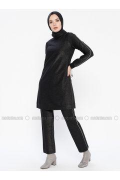 Black - Unlined - Cotton - Suit - MY MOOD(110339644)