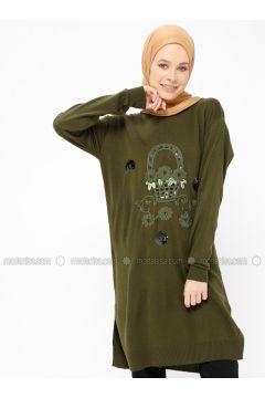 Khaki - Crew neck - Wool Blend - Acrylic -- Tunic - Veteks Line(110315522)