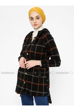 Black - Plaid - Point Collar - Tunic - SELLY(110330494)