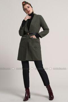 Khaki - Unlined - Shawl Collar - Cotton - Jacket - Refka(110313181)