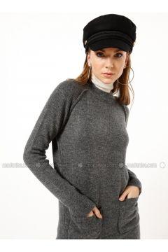 Smoke-coloured - Polo neck - Acrylic -- Tunic - Dilvin(110327227)