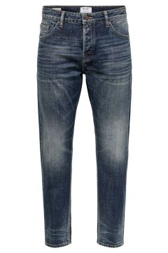 ONLY & SONS Onsavi Life Beam Tap Crop Straight Fit-jeans Man Blå(114189640)