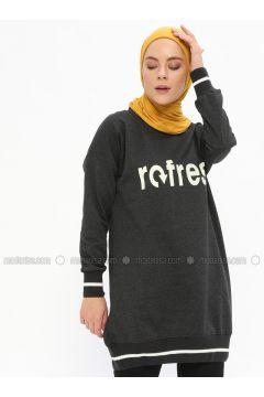 Cotton - Crew neck - Smoke-coloured - Sweat-shirt - İLMEK TRİKO(110321772)