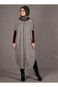 Gray - Maroon - Unlined - Wool Blend - Acrylic - Abaya - Henna Elısa(110320057)