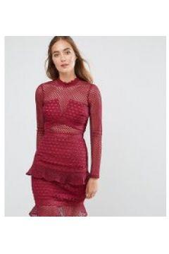 True Decadence Tall - Skaterkleid aus Spitze mit Rüschensaum - Rot(94102812)