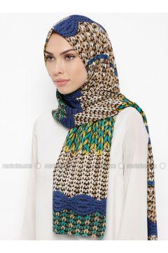 Green - Blue - Printed - Shawl - Qubbe(110317379)