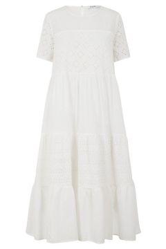 PIECES Broderie Katoenen Midi Jurk Dames White(114382933)