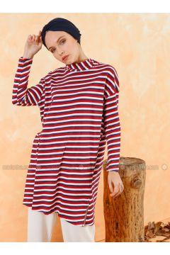 Red - White - Stripe - Polo neck - Cotton - Tunic - Muni Muni(110330508)