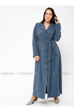 Petrol - Unlined - Shawl Collar - Plus Size Coat - Tekbir(110335658)
