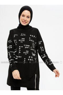 Black - Multi - Cotton - Crew neck - Tracksuit Top - Hatun Atila(110332260)