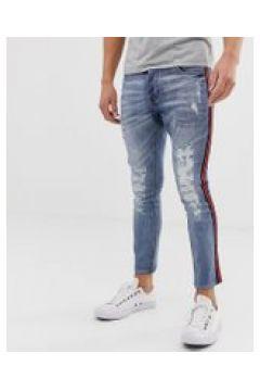 Brave Soul - Enge Jeans mit Zierband - Blau(89511605)