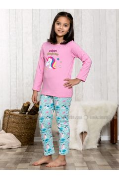 Pink - Crew neck - Multi - Kids Pijamas - Lingabooms(110313098)