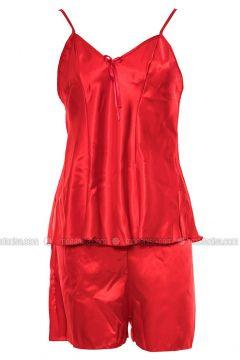 Red - V neck Collar - Nightdress - Lingabooms(110316344)