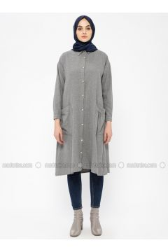 Gray - Point Collar - Tunic - SELLY(110330487)