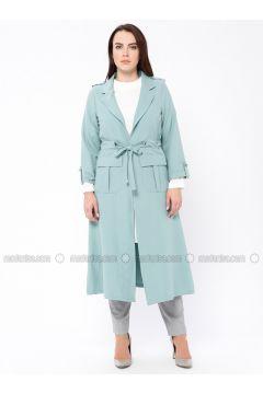 White - Ecru - Mint - Crew neck - Shawl Collar - Unlined - Plus Size Suit - Tuana(110338914)