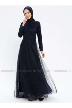 Navy Blue - Fully Lined - Crew neck - Muslim Evening Dress - Robir(110320665)