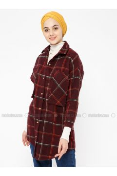 Maroon - Plaid - Point Collar - Tunic - SELLY(110333544)