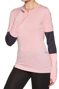 Top Seconde Peau Femme Mons Royale Cornice Long Sleeve - Rosewater Iron(111332203)
