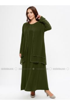 Khaki - Unlined - Crew neck - Muslim Plus Size Evening Dress - Havva Ana(110329976)