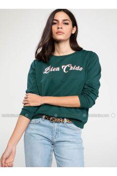 Green - Sweat-shirt - DeFacto(110327684)
