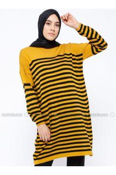 Mustard - Stripe - Crew neck -- Tunic - PİLİSE(110313968)