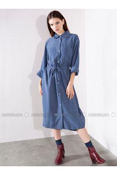 Blue - Stripe - Point Collar - Viscose - Dresses - Akel(110331078)