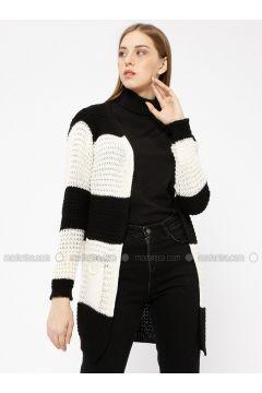 Black - Stripe - Acrylic -- Cardigan - Meliana(110331011)