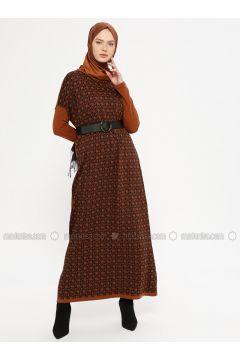 Tan - Multi - Crew neck - Unlined - Acrylic -- Dresses - NOVİNZA(110332534)