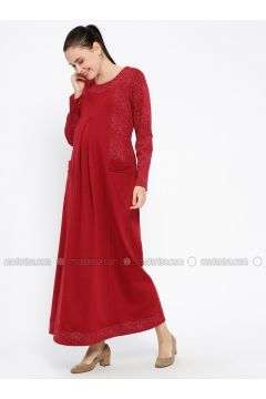 Maroon - Crew neck - Unlined - Viscose - Maternity Dress - Havva Ana(110313990)