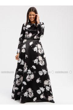 Black - Floral - Crew neck - Fully Lined - Dresses - DRESSLOVE(110339019)