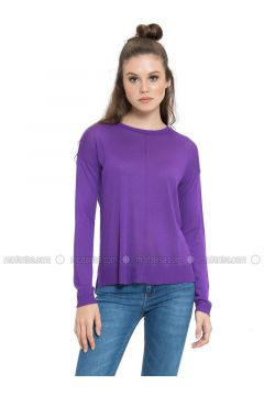 Purple - Crew neck - Jumper - LC WAIKIKI(110330877)