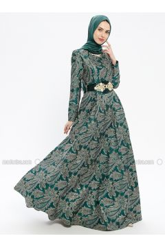 Green - Multi - Fully Lined - Crew neck - Muslim Evening Dress - MissGlamour(110320692)