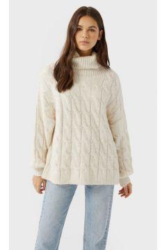 Pullover mit Zopfmuster und Ballonärmeln Ecru(116790276)