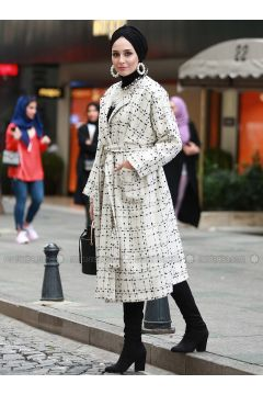 Ecru - Multi - Fully Lined - Shawl Collar - Cotton - Acrylic - Coat - AL SHEIKHA(110319395)